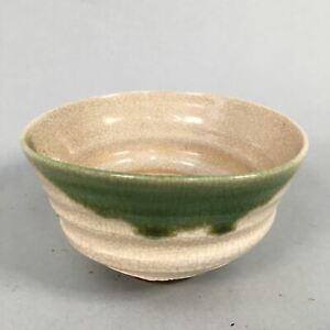 Japanese-Ceramic-Tea-Ceremony-Bowl-Chawan-Oribe-ware-Vtg-Pottery-GTB655