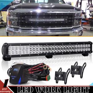 For-2007-13-Toyota-Tundra-Front-Hidden-Bumper-25-039-039-LED-Light-Bar-Kit-Combo-Beam
