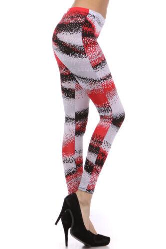 Gray White Womens Red And Black Polka Dot Leggings XL 2X