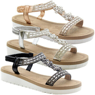 Women T-Bar Ankle Strap Sandals Ladies Summer Beach Closed Toe Flat Shoes Size
