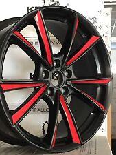 4 neue Alu MAM A5 black matt Folie rot 8x19, 5/112, ET45 Seat Leon 1P 5F