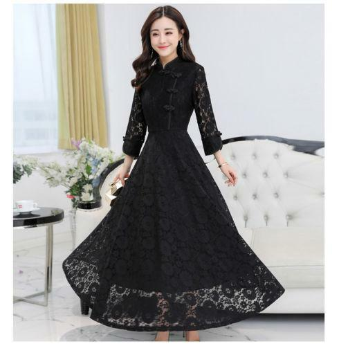 Stylish Womens Lace Slim Mini Dress Qipao Swing Hollow Retro Pullover Ball Gown