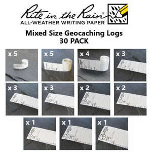 30-x-NEW-GEOLoggers-MIXED-PACK-Geocaching-Log-Sheets-Rite-in-the-Rain-White