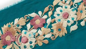Gloriously Shades of Pink Parsi Satin Stitch Embroidered Trim 3 Yards /& 3 Wide