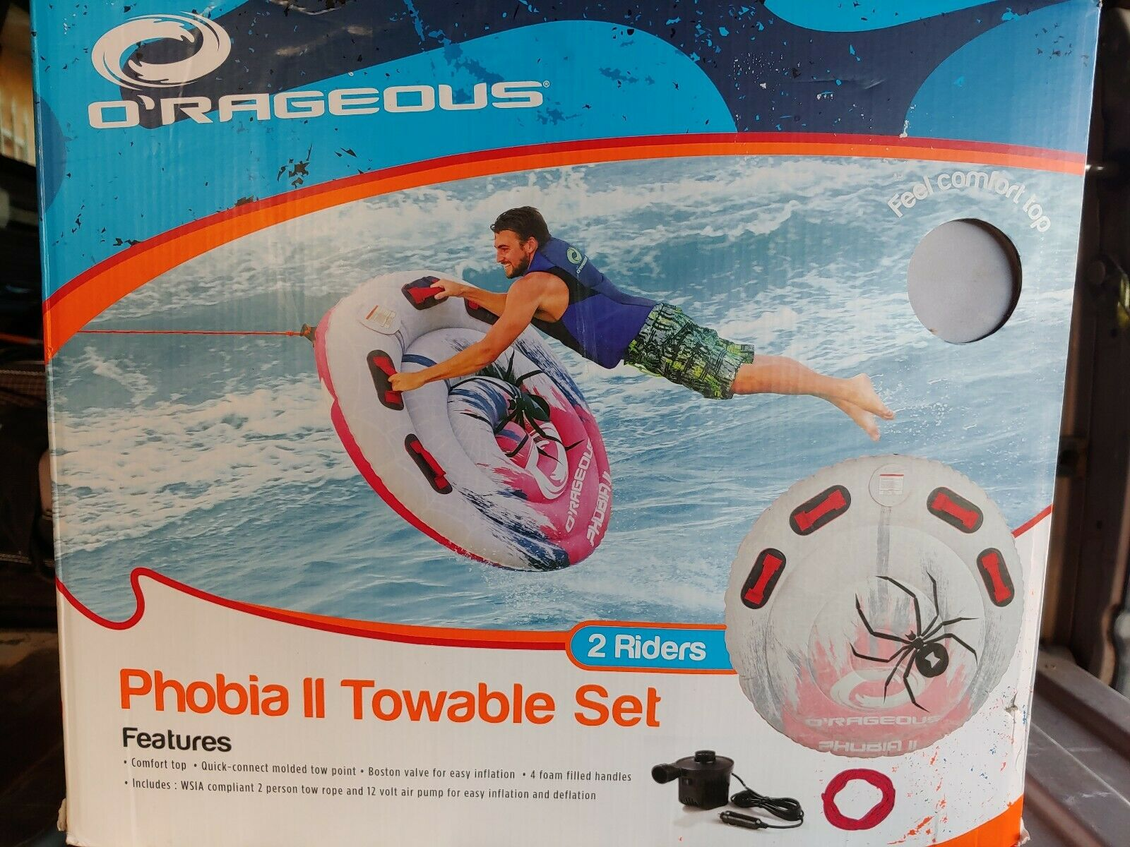 2 Person Towable Tube O'rageous Includes Tow Rope & 12v Pump Phobia II Set