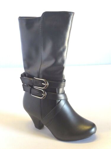 Black Brown Heeled Boots Dress Boots Girl Faux Leather Boots with Heel bibi57k