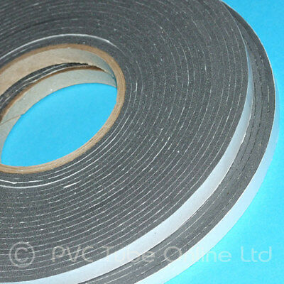 5m Black Draught Excluder Tape Single Sided Closed Cell 10mm Wide x 1.5mm