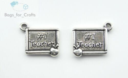 TC23 x2 cara Profesor de #1 de plata tibetana con encanto Placa de Apple Colgantes 20mm