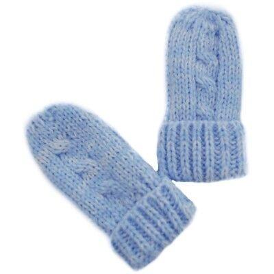 Razionale Soft Touch Paire De Moufles / Gants Hiver Tricote Pour Bebe 0 - 12 Mois Bleu