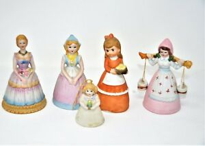 """Decorative Arts Antiques Collection Of Ceramic Bells 5 1/2"""" High Lot Of 5 Agreeable To Taste"""
