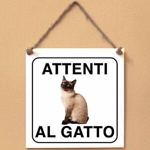 Siamese-2-Attenti-al-gatto-Targa-gatto-cartello-ceramic-tiles