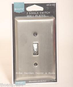 2 brushed satin pewter single light switch wall plate. Black Bedroom Furniture Sets. Home Design Ideas