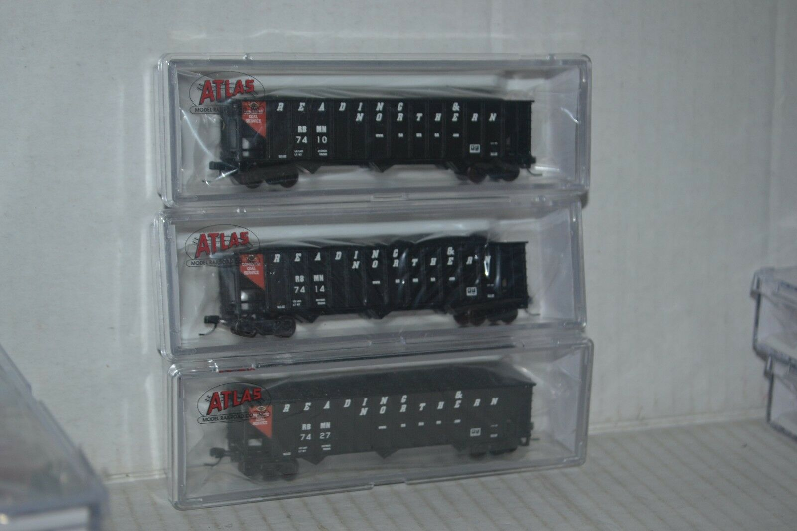 3 Atlas Reading blu Mtn & Northern RBMN  90t Hopper Car N 50002378, 79, 80