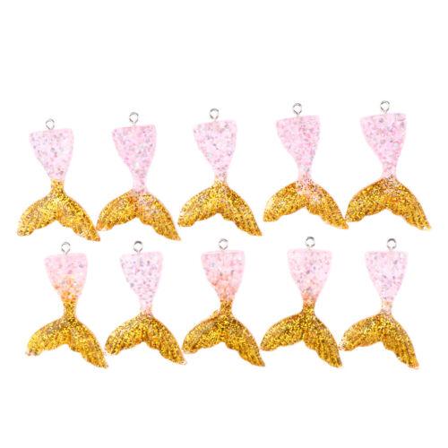 10pcs 45x32mm Glitter Charm Mermaid Tail Anhänger für Schmuck machen