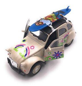 Citroen-2CV-Modele-IN-Beige-Planche-de-Surf-Toit-Fleur-Masstab-1-3-4-Licence