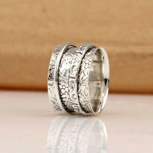 Solid-925-Sterling-Silver-Spinner-Ring-Meditation-Ring-Statement-Ring-Size-RA51