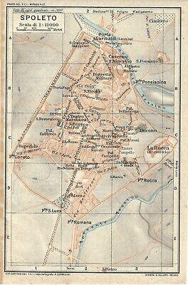 Cartina Geografica Spoleto.Spoleto Mappa Touring Club 1923 Carta Geografica Ebay