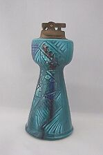 "Vintage Ceramic Cigarette Lighter Blue Green Mid Century Retro Style 7"" Tall"