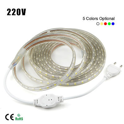 1M-10M Waterproof SMD 5050 LED Strip 220V 230V 60leds/m Flexible tape rope Light