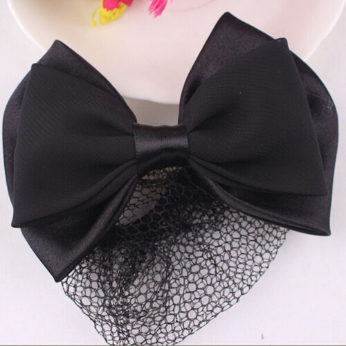 Lady Woman Bow Hairnet Barrette Bowknot Hair Clip Bun Cover Snood Net TWUK