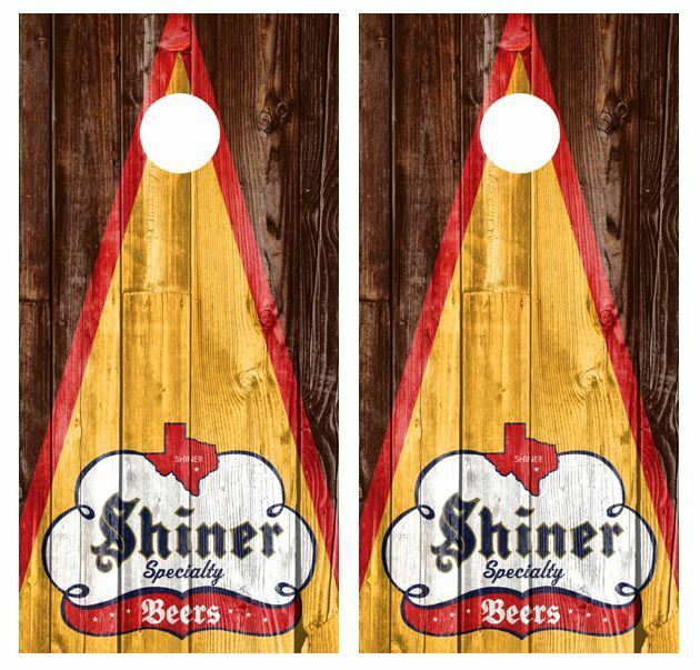 Shiner Specialty Beers  Rustic Barnwood Cornhole Board Wraps FREE SQUEEGEE  quality product