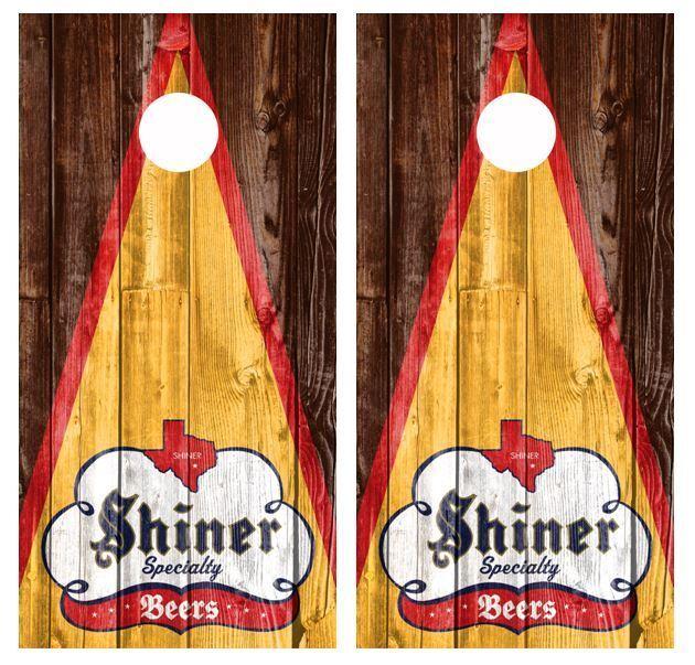 Shiner Specialty Beers Rustic Barnwood Cornhole Board Wraps FREE SQUEEGEE