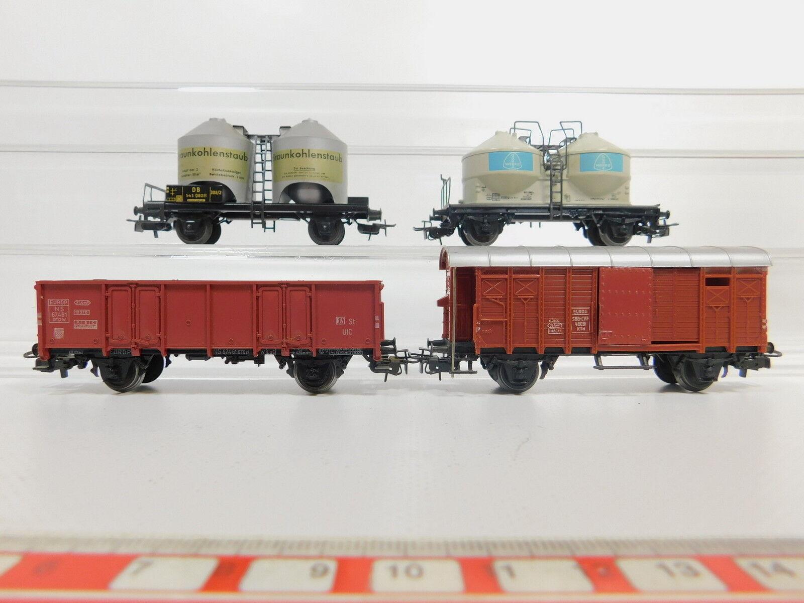 AQ726-1x Märklin H0 AC Güterwagen  Quarz Werke DB+brownkohlenstaub+SBB+NS