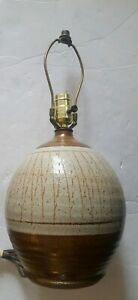 Vintage-Brown-Glazed-Stoneware-Table-Lamp
