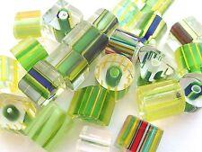 CANE FURNACE GLASS BEADS 25g Green Mix