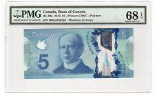 Canada $5 Dollars Banknote 2013 BC-69a PMG Superb GEM UNC 68 EPQ