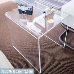 Tavolini Da Salotto Plexiglass.Dettagli Su Tavolino Plexiglass Trasparente Da Salotto L 30x30 H 40 Cm Designtrasparente