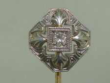 BEAUTIFUL ART NOUVEAU 14K GOLD FLEUR-DE-LIS & MINE CUT DIAMOND STICK PIN!