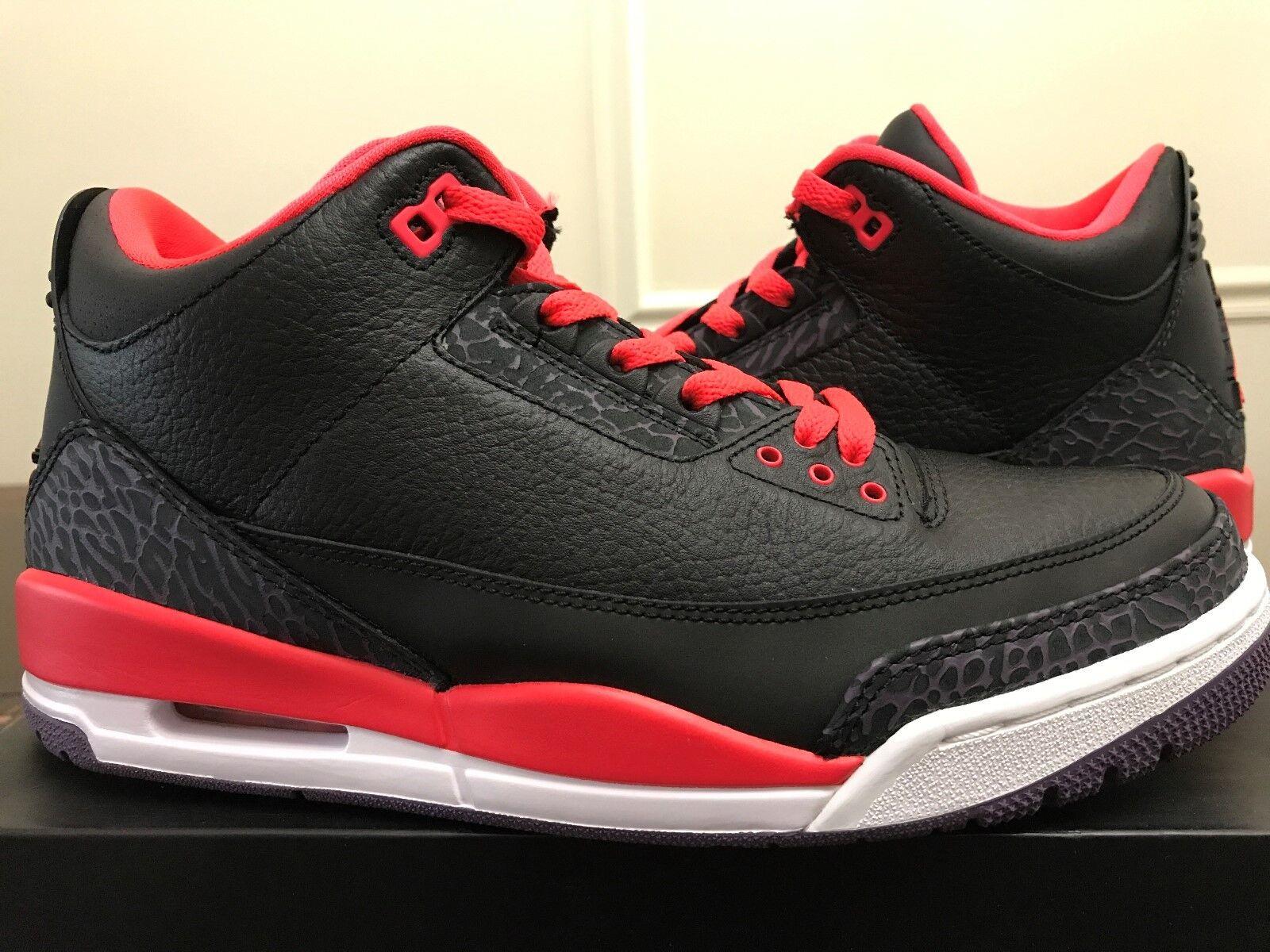 Nike Air Jordan Retro 3 III Size 9.5  Crimson  Black Red Purple White 2012 23