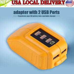 USB-Mobile-Phones-Battery-Charger-Adapter-For-Dewalt-14-4V-18V-20V-Slide-DCB090