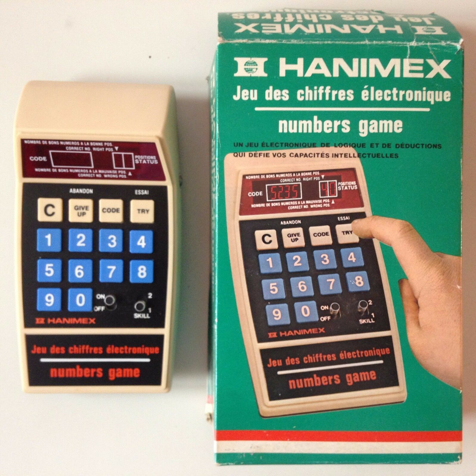 Tres rare game figures vintage electronics-hanimex numbers game