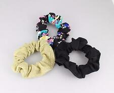 Black gold floral set 3 fabric ponytail holder hair tie elastic scrunchies