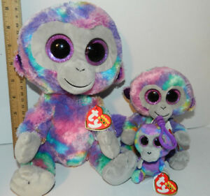 c9a4cb86d59 Details about 3 pc Lot SET 2018 TY Zuri the monkey BEANIE BOOS SIZE MED    Reg Boo   Clip Boos