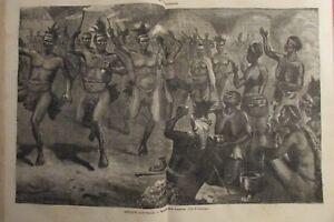 Zeitung-der-Voyages-Nr-296-von-1883-Suedliches-Afrika-Gravur-Tanz-der-Kaffern
