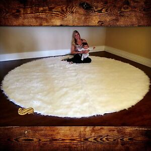 Image Is Loading Large Round Area Rug White Faux Fur