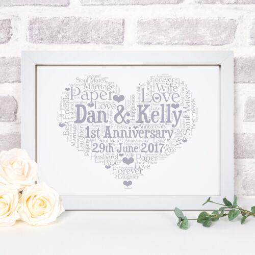 Personnalisé Mot Art mariage anniversaire imprimer cadre cadeau pour lui son couples