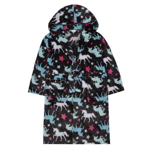 Girls Unicorn /& Star Print Dressing Gown Robe ~ 7-13 Years