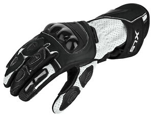 Motorradhandschuhe von XLS Motorrad Lederhandschuhe Schwarz Weiß Gr. S bis 3XL