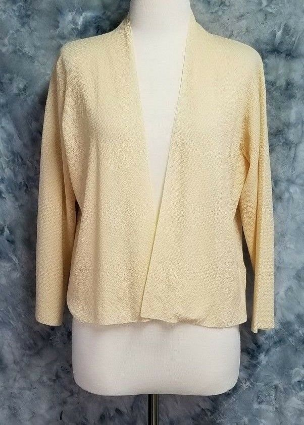 Eileen Fisher Womens sz L Pale Yellow Wool Boxy Thin Cardigan Layering Top