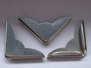 20 Stück große Buchecken Metallecken Ecken 35x35x4,5 mm vernickelt NEUWARE