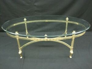 vintage ethan allen brass glass bevelled oval coffee table living