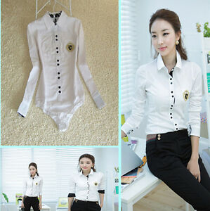 Women-White-Cotton-OL-Bodysuit-Blouse-long-Sleeve-Formal-Shirt-Female-Tunic-Tops