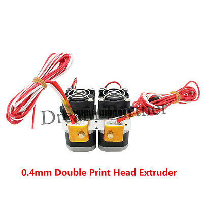 New 0.4mm Double Print Head MK8 makerbot Extruder for i3 1.75mm Filament