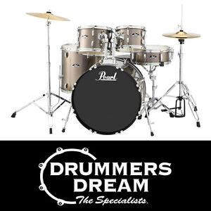 Pearl-Roadshow-5pce-22-034-Drum-Kit-Gig-Ready-w-Cymbals-amp-Hardware-Bronze-Metallic