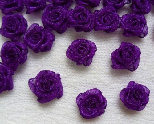 "R0101DU W Purple Organza Ribbon Rosess Appliques-50 pcs 5//8/"""