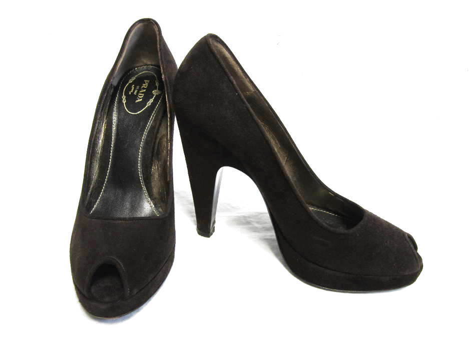 PRADA brown suede peep toe pumps heel shoes sz 38 8